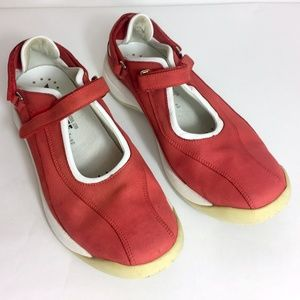 MEPHISTO 9.5 RED Leather Runoff Sneakers Mary Jane